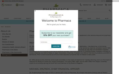Screenshot of Team Page pharmaca.com - Management | Pharmaca - captured April 7, 2017