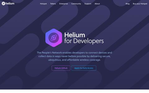 Screenshot of Developers Page helium.com - Helium Developers - captured Sept. 14, 2019