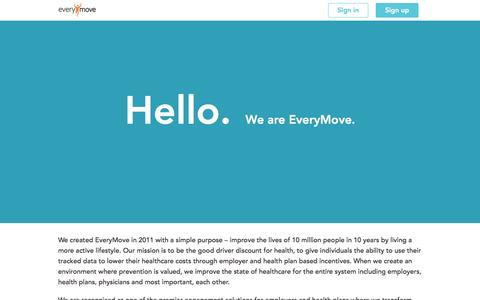 Screenshot of About Page everymove.org - About us | EveryMove - captured Feb. 19, 2016