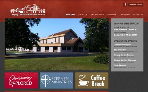 Screenshot of Home Page langleycanrc.org - Langley Canadian Reformed Church - captured Oct. 1, 2014