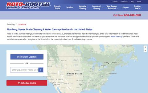 Screenshot of Locations Page rotorooter.com - Find a Plumber | Plumbers Near You in the U.S. | Roto-Rooter - captured Aug. 3, 2018