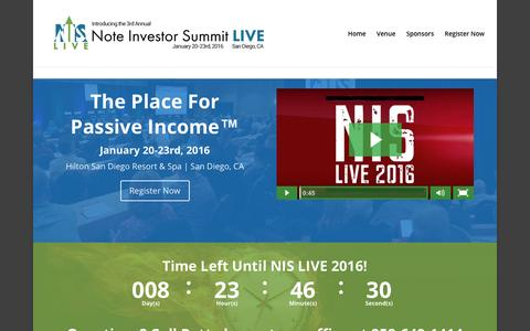Screenshot of Home Page noteinvestorsummit.com - Note Investor Summit - The Real Estate Note Investing Event of the Year - captured Jan. 11, 2016