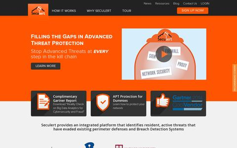 Screenshot of Home Page seculert.com - Advanced Threat Protection | Seculert - captured July 11, 2014