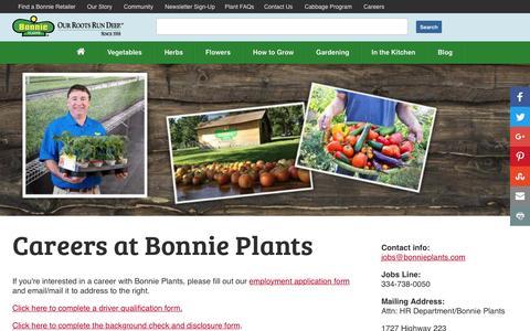 Screenshot of Jobs Page bonnieplants.com - Careers - Bonnie Plants - captured Nov. 23, 2016
