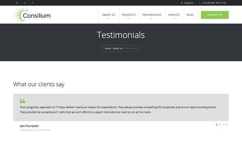 Screenshot of Testimonials Page consilium-uk.com - Clients   Testimonials   What our clients say about Consilium - captured Sept. 29, 2018