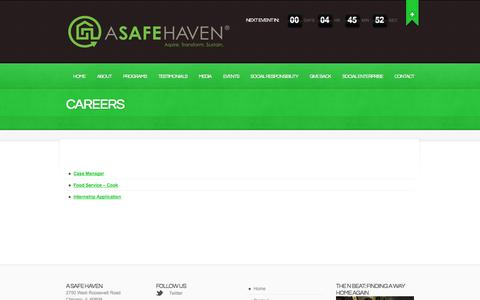 Screenshot of Jobs Page asafehaven.org - CAREERS  |  A Safe Haven Foundation | Aspire. Transform. Sustain. - captured Oct. 1, 2014