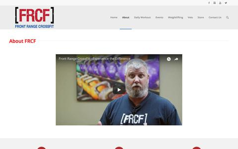 Screenshot of About Page frontrangecrossfit.com - About FRCF - captured Jan. 21, 2018