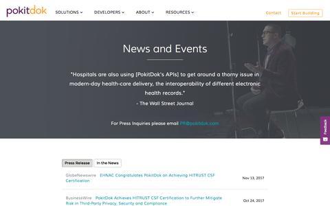 Screenshot of Press Page pokitdok.com - In The News | PokitDok - captured Nov. 23, 2017