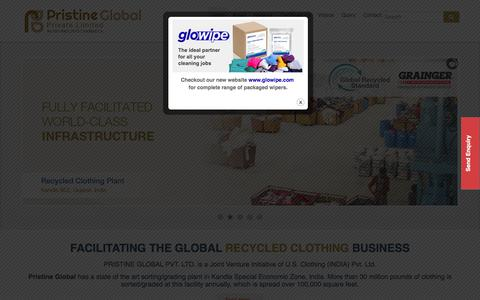 Screenshot of Home Page pristineglobal.com - Used Recycled Clothing | Second Hand Clothes Supplier - captured Sept. 26, 2018