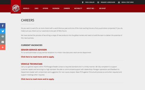 Screenshot of Jobs Page mg.co.uk - Careers - About MG - MG Motor UK Ltd - captured Nov. 17, 2016