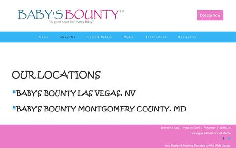 Screenshot of Locations Page babysbounty.org - Locations - Baby's Bounty - captured July 28, 2016