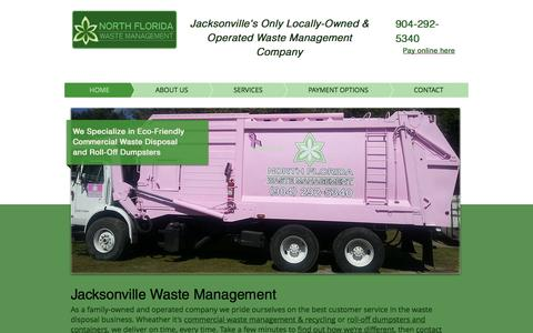 Screenshot of Home Page nfwmgt.com - Jacksonville Waste Management | Roll Off Dumpsters Jacksonville - captured Oct. 7, 2014