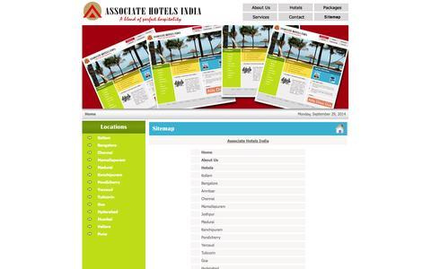 Screenshot of Site Map Page associatehotelsindia.com - Associate Hotels India - captured Sept. 30, 2014