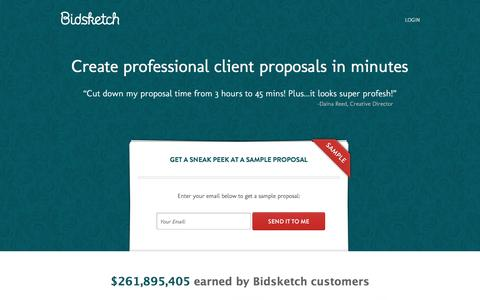 Screenshot of bidsketch.com - Bidsketch: Proposal Software - captured May 5, 2016