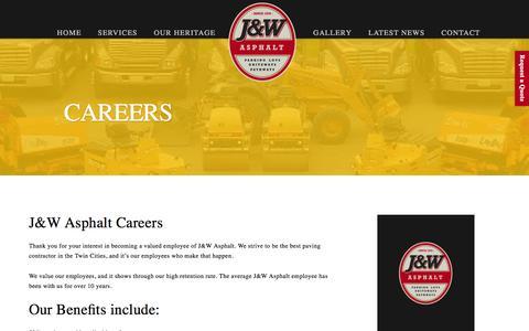 Screenshot of Jobs Page jwasphalt.com - Asphalt Careers - captured July 20, 2016