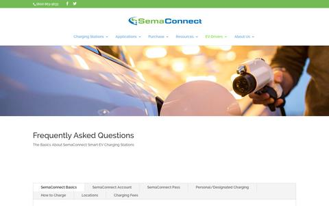 Screenshot of FAQ Page semaconnect.com - FAQ - Smart Electric Vehicle (EV) Charging Stations - captured Nov. 8, 2019
