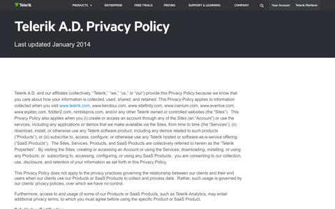 Screenshot of Privacy Page telerik.com - Telerik Privacy Policy Terms and Conditions - captured Oct. 10, 2014