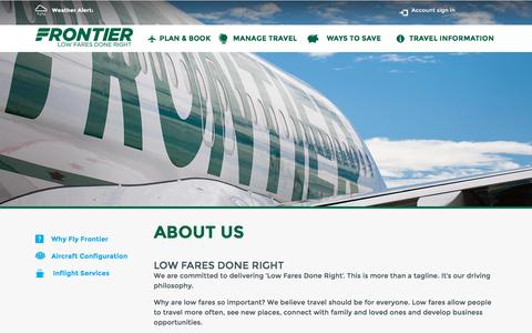 Screenshot of About Page flyfrontier.com - About Us | Frontier Airlines | Cheap Fares - captured Dec. 3, 2015