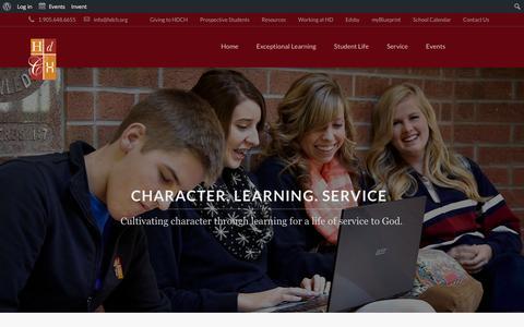 Screenshot of Home Page hdch.org - Hamilton District Christian High School - captured Jan. 25, 2016