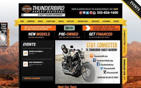 Screenshot of Home Page thunderbirdhd.com - Thunderbird Harley-Davidson® | Albuquerque, New Mexico | thunderbirdhd.com - captured Feb. 16, 2016