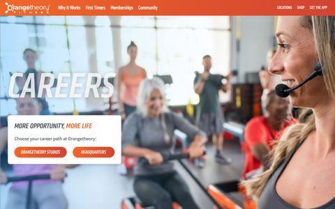 Screenshot of Jobs Page orangetheoryfitness.com - Fitness Careers | Orangetheory Fitness - captured Oct. 12, 2018
