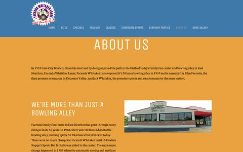 Screenshot of About Page facendawhitaker.com - East Norriton Family Fun Center & Bowling Alley: About Us - captured April 7, 2017