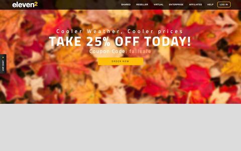 Screenshot of Home Page eleven2.com - Eleven2 Web Hosting, Reseller Hosting, VPS & Enterprise Servers - captured Oct. 2, 2015