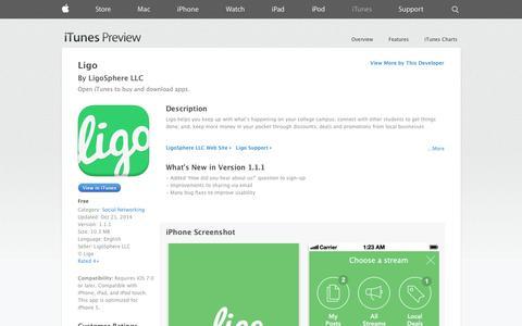 Screenshot of iOS App Page apple.com - Ligo on the App Store on iTunes - captured Oct. 22, 2014