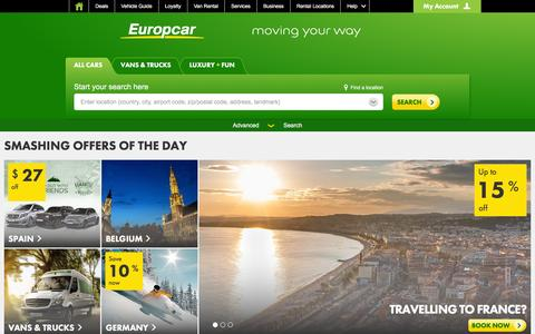 Screenshot of Home Page europcar.com - Car Rental - Rent A Car Worldwide - Car and Van Rentals | Europcar - captured Dec. 12, 2015