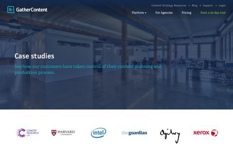 Screenshot of Case Studies Page gathercontent.com - Case Studies – GatherContent - captured Nov. 18, 2015