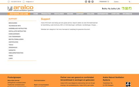 Screenshot of Support Page aralco.nl - support - Aralco - captured Nov. 21, 2016