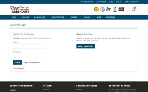 Screenshot of Login Page shredderwarehouse.com - Customer Login - captured Dec. 10, 2018