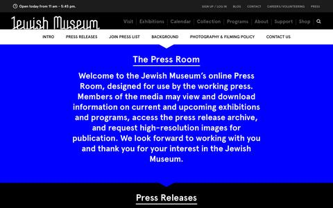 Screenshot of Press Page thejewishmuseum.org - The Jewish Museum - Press Room - captured Sept. 19, 2014