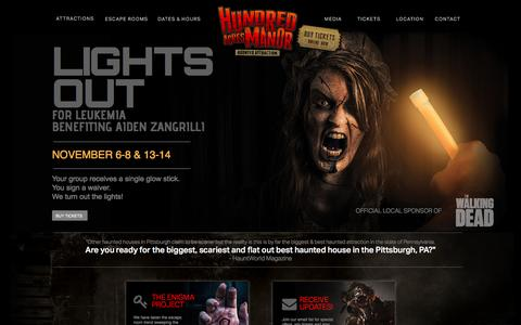 Screenshot of Home Page hundredacresmanor.com - Hundred Acres Manor | Pittsburgh's Best Haunted House - captured May 21, 2016
