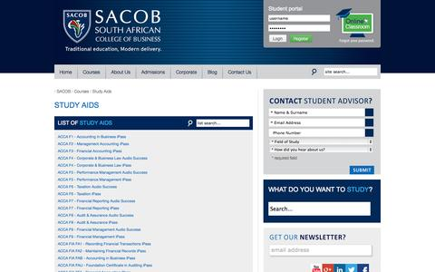 Screenshot of Products Page sacob.com - Study Aids - captured Oct. 30, 2014
