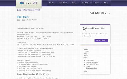 Screenshot of Hours Page ovcmt.com - Spa Hours | Okanagan Valley College of Massage Therapy | - captured Oct. 26, 2014