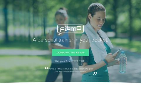 Screenshot of Home Page fitmo.com - Fitmo - Personal trainer in your pocket - captured Nov. 3, 2015