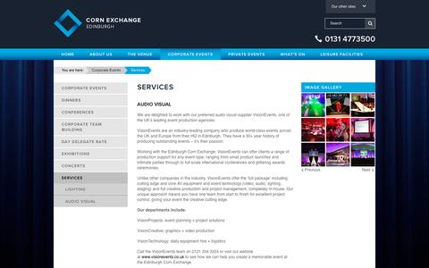 Screenshot of Services Page edinburghcornexchange.com - Services | Edinburgh Corn Exchange - captured July 16, 2018