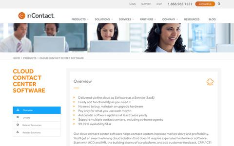 Screenshot of Products Page incontact.com - Cloud Contact Center Software | inContact - captured Jan. 6, 2017