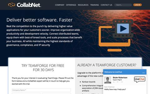 Screenshot of Trial Page collab.net - CollabNet TeamForge – FREE for 30 Days | CollabNet - captured July 6, 2017