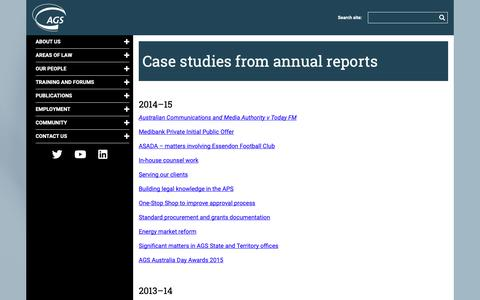 Screenshot of Case Studies Page ags.gov.au - Case studies from annual reports - captured Oct. 4, 2018