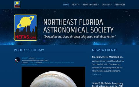 Screenshot of Home Page nefas.org - NEFAS   Northeast Florida Astronomical Society - captured June 30, 2018