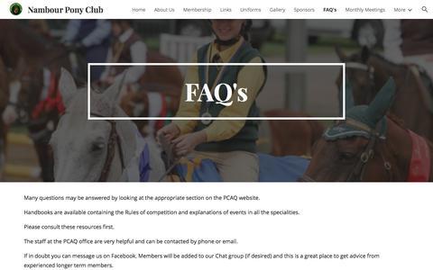 Screenshot of FAQ Page google.com - Nambour Pony Club - FAQ's - captured July 1, 2018
