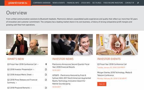Corporate Profile | Plantronics IN