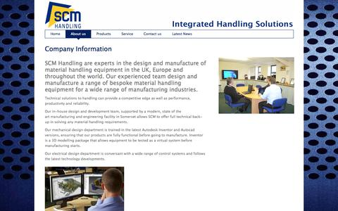 Screenshot of About Page scmhandling.com - SCM Handling  » About us - captured Sept. 30, 2014
