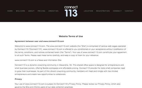 Screenshot of Terms Page connect113.com - Terms | Connect113 CoWorking Ń Connect113 - captured Dec. 10, 2015