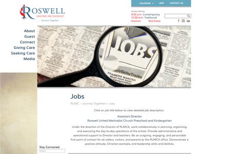 Screenshot of Jobs Page rumc.com - Jobs » RUMC - Journey Together RUMC – Journey Together - captured Oct. 6, 2014