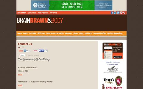 Screenshot of Contact Page brainbrawnbody.com - Brain Brawn & Body - actively advancing African American men's health. - Contact Us - captured Sept. 30, 2014
