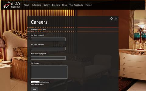 Screenshot of Jobs Page gusto-furniture.com - Careers - Gusto Furniture | Timeless Classics - captured Sept. 30, 2014
