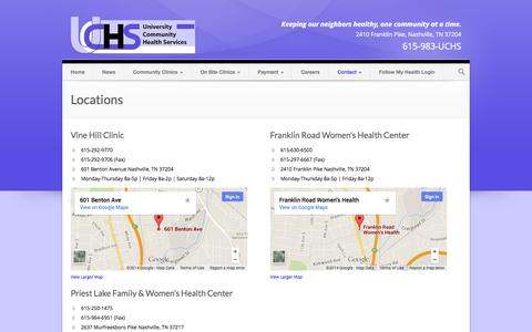 Screenshot of Locations Page uchshealth.org - UCHS Health Services   » Locations - captured Oct. 7, 2014